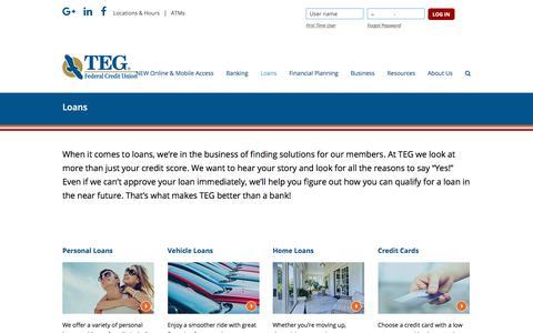Screenshot of tegfcu.com - Loans – TEG Federal Credit Union - captured Dec. 2, 2017