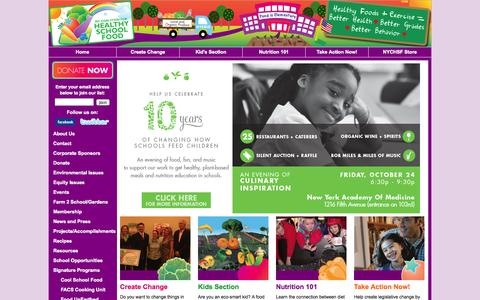 Screenshot of Home Page healthyschoolfood.org - NY Coalition for Healthy School Food - captured Oct. 7, 2014