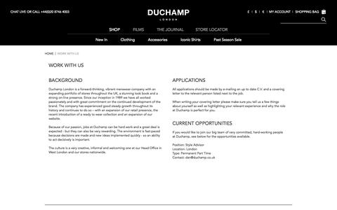 Screenshot of Jobs Page duchamplondon.com - Work With Us | Duchamp London - captured Oct. 29, 2014