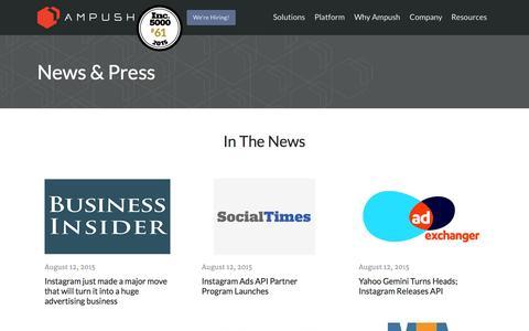 Screenshot of Press Page ampush.com - Press - Ampush - captured Oct. 1, 2015