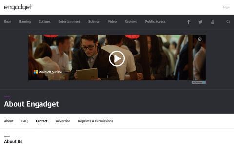 Screenshot of Contact Page engadget.com - About Us | Engadget - captured Dec. 4, 2015