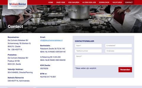 Screenshot of Contact Page deculinairemakelaar.nl - Contact - captured Aug. 6, 2018
