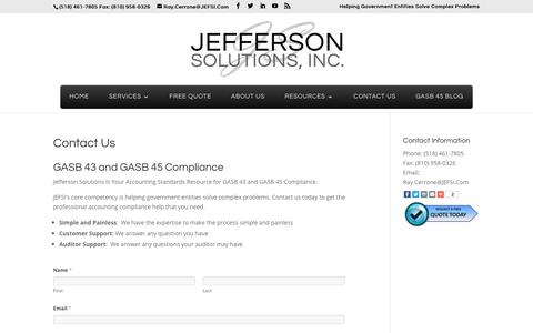 Screenshot of Contact Page gasb45.com - GASB 45 Compliance | GASB 43 Compliance | GASB 45 Accounting Standards | GASB 43 Accounting Standards | Jefferson Solutions | Jefferson Solutions, Inc. - captured Oct. 16, 2017