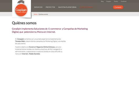Screenshot of About Page corpspin.com - Quiénes somos  - Corpspin | E-commerce & Marketing - captured Oct. 3, 2014