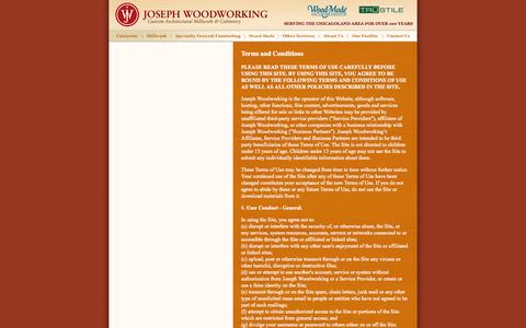 Screenshot of Terms Page josephwoodworking.com - Joseph Woodworking - captured Sept. 30, 2014