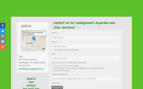 Screenshot of Contact Page sageconsignment.com - Contacts - captured July 26, 2018