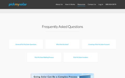 Screenshot of FAQ Page pickmysolar.com - Your Solar Questions, Answered | Pick My Solar - captured May 25, 2017
