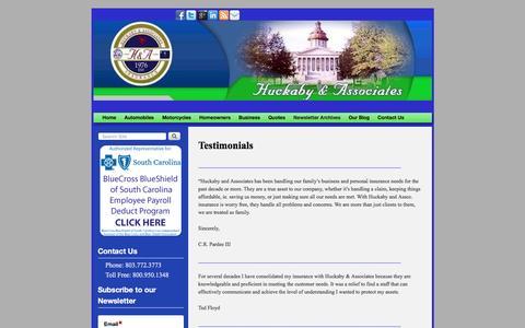 Screenshot of Testimonials Page huckabyandassociates.com - Testimonials | - captured Dec. 14, 2015