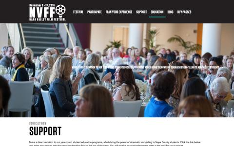 Screenshot of Support Page nvff.org - Support | Education | Napa Valley Film Festival - captured April 26, 2016