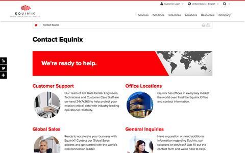 Screenshot of Contact Page equinix.com - Contact Equinix - Equinix Global Contact Informaton - captured Oct. 1, 2015