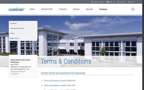 Screenshot of Terms Page weberweb.com - Terms & Conditions | Weber Maschinenbau GmbH - captured Dec. 3, 2016