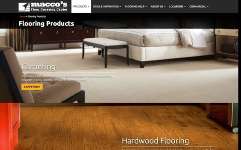 Screenshot of Products Page maccosflooring.com - Premium Flooring, Carpeting, Hardwood, Laminate, Green Bay Locations - captured Feb. 12, 2016