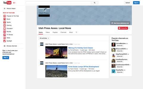 Screenshot of YouTube Page youtube.com - Utah Press Assoc. Local News  - YouTube - captured Nov. 4, 2014
