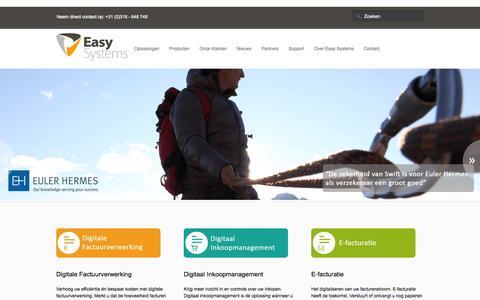 Screenshot of Home Page easysystems.nl - Easy Systems; workflow oplossingen van budget tot betaling - captured Jan. 26, 2015