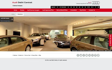 Screenshot of Maps & Directions Page audidelhicentral.in - Cars Showroom in Delhi NCR | Directions | Audi Delhi - captured July 27, 2016