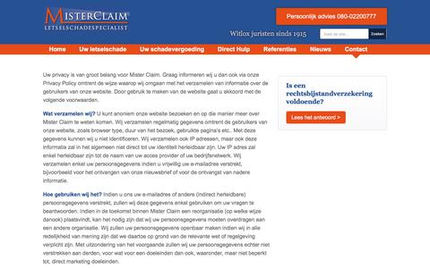 Screenshot of Privacy Page misterclaim.nl - Privacy policy | MisterClaim - captured Sept. 21, 2018