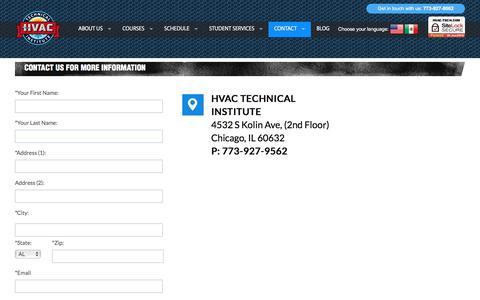 Screenshot of Contact Page hvac-tech.com - Contact Us - captured May 1, 2018