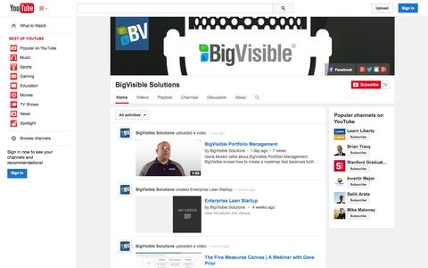 Screenshot of YouTube Page youtube.com - BigVisible Solutions  - YouTube - captured Oct. 23, 2014