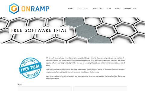 Screenshot of Trial Page onrampbioinformatics.com - Free Software Trial — Onramp BioInformatics - captured Feb. 14, 2016