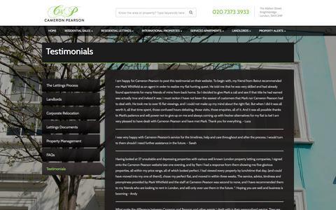 Screenshot of Testimonials Page cameronpearson.co.uk - Cameron Pearson - captured July 15, 2018