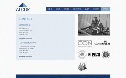 Screenshot of Contact Page alcorfacilities.com - Alcor Facilities Management | Edmonton and Fort McMurray - captured Oct. 4, 2014