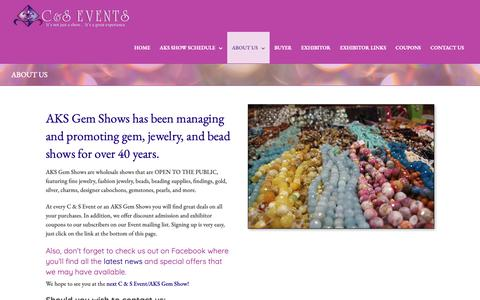 Screenshot of About Page aksshow.com - AKS Gem Shows gem, jewelry, and bead shows for over 40 years - captured Oct. 2, 2018