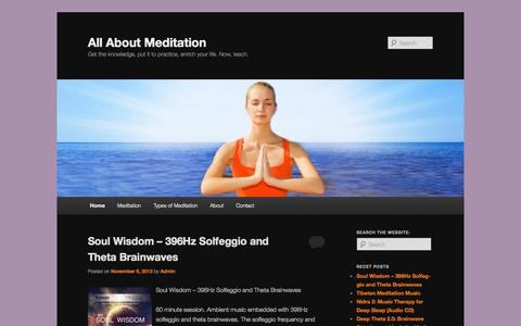 Screenshot of Home Page allaboutmeditation.info - All About Meditation - captured Sept. 25, 2014