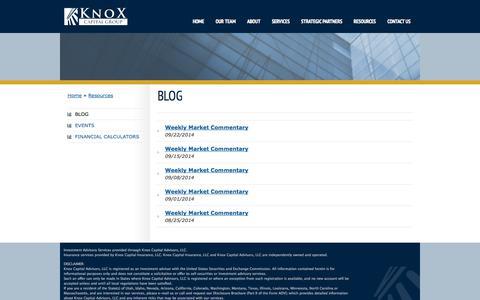 Screenshot of Blog knoxcapitalgroup.com - Blog   Knox Capital - captured Sept. 30, 2014