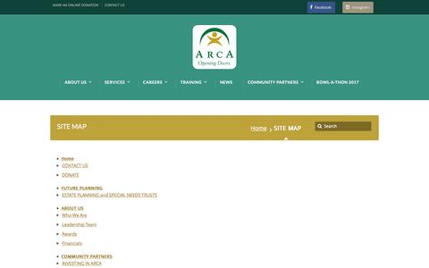 Screenshot of Site Map Page arcaopeningdoors.org - SITE MAP - ARCA - captured May 28, 2017
