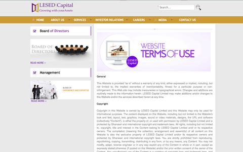 Screenshot of Terms Page lesedghana.com - LESED Capital - Terms of Use - captured Oct. 1, 2014