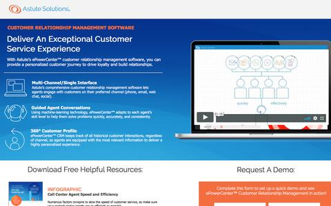 Screenshot of Landing Page astutesolutions.com - Astute Call Center Software - captured March 3, 2018