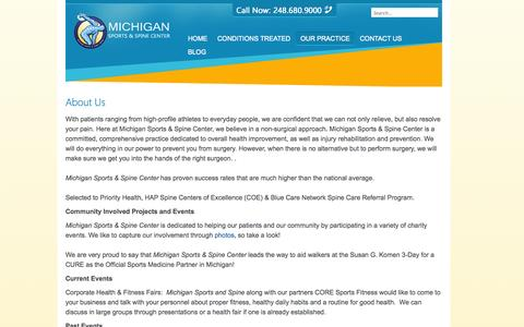 Screenshot of About Page michigansportsandspine.com - About Us - captured Nov. 3, 2014