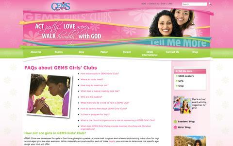 Screenshot of FAQ Page gemsgc.org - FAQs   GEMS Girls' Clubs - captured Oct. 1, 2014