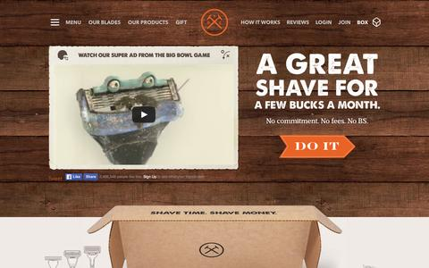 Screenshot of Home Page dollarshaveclub.com - Dollar Shave Club - captured Feb. 17, 2016