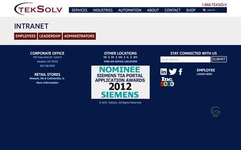 Screenshot of Login Page teksolv.com - Intranet - TekSolv - captured Dec. 26, 2017