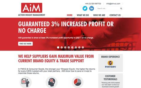 Screenshot of Home Page actioninsightmanagement.com - Trade Promotion Optimisation/Planning tools for FMCG Brand - captured Sept. 11, 2015