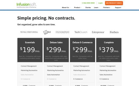 Screenshot of Pricing Page infusionsoft.com - Infusionsoft Pricing | Infusionsoft Cost | Infusionsoft - captured July 20, 2014