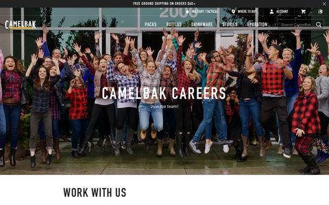Screenshot of Jobs Page camelbak.com - Outdoor Industry Jobs at CamelBak in Petaluma, CA - captured Oct. 30, 2017