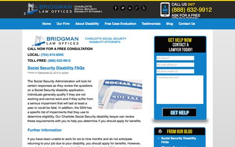 Screenshot of Blog charlottedisability.com - Bridgman Law Offices | Blog - captured Oct. 5, 2014
