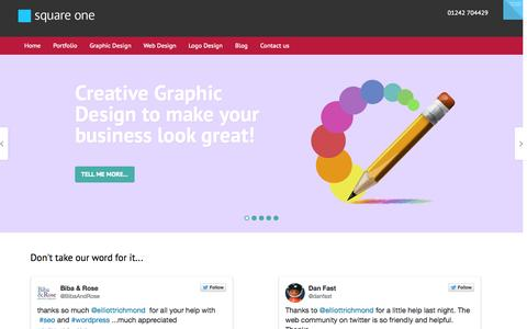 Screenshot of Home Page squareonemd.co.uk - Graphic, web and logo design, Cheltenham, Gloucestershire - captured Sept. 24, 2014