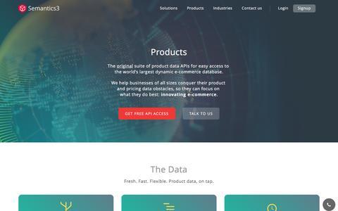 Screenshot of Products Page semantics3.com - Products   Semantics3 - captured Sept. 21, 2016
