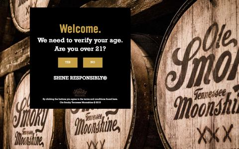 Screenshot of Home Page olesmoky.com - Home - Ole Smoky Tennessee Moonshine - captured Oct. 1, 2015