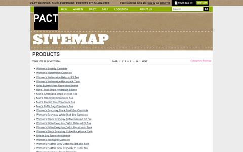 Screenshot of Site Map Page wearpact.com - Site Map - captured July 19, 2014