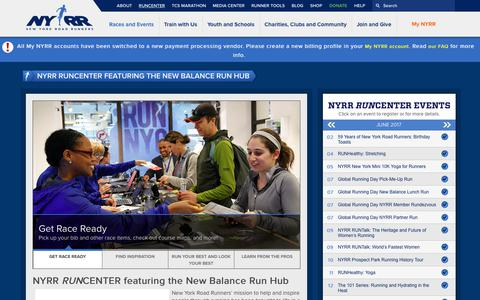 Screenshot of Hours Page nyrr.org - NYRR RUNCENTER featuring the New Balance Run Hub | NYRR - captured June 28, 2017