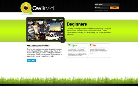 Screenshot of qwikvid.com - Slideshows are quick and easy to makes. Create your first video in minutes. - captured Oct. 11, 2014