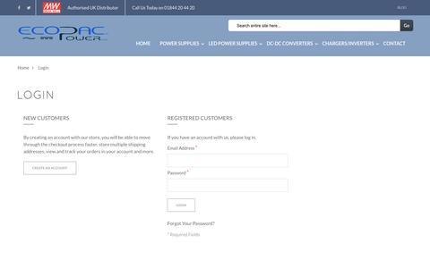 Screenshot of Signup Page ecopacpower.co.uk - Customer Login - captured Jan. 25, 2016