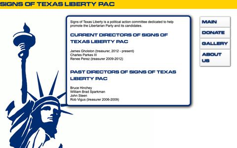 Screenshot of About Page siglib.org - ABOUT SIGNS OF TEXAS LIBERTY PAC - captured Oct. 28, 2018