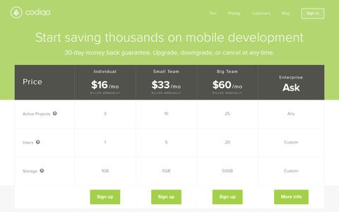 Screenshot of Signup Page Pricing Page codiqa.com - The Easiest Mobile Development Tool - Codiqa - captured Oct. 23, 2014