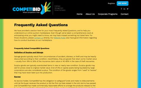 Screenshot of FAQ Page brittonmg.com - Frequently Asked Questions | CompetiBid - captured Nov. 13, 2018