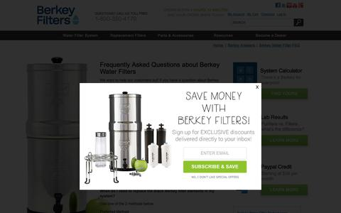 Screenshot of FAQ Page berkeyfilters.com - Water Filter FAQ - Questions About Berkey Water Filters - captured Nov. 6, 2018